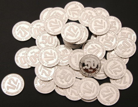 A Pile of Proof Condition Silver 1/2-oz Bartering Currency Coins