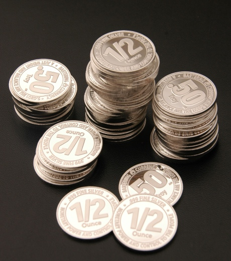 A Stack of Proof Condition Silver 1/2-oz Bartering Currency Coins