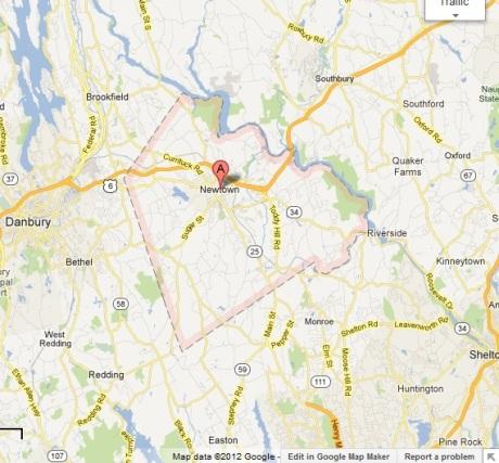 GoogleMaps map of Newtown, Connecticut
