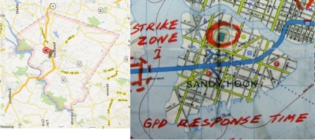 Nearly Identical outlines for Newtown, CT and Sandy Hook, Gotham City