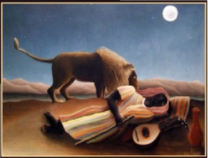 sleeping woman with lion and moon