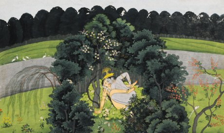 An Illustration from the Gita Govinda- Krishna and Radha in a Bower or Grove which suddenly springs up around them as they make love.