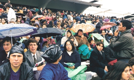 Chilean Church members in the Estadio Nacional - Santiago Chile